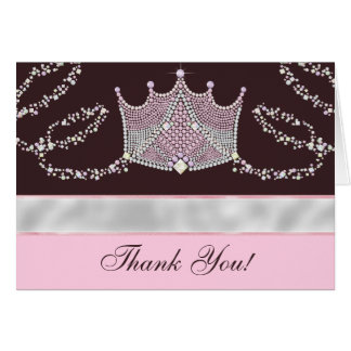 Pink Brown Princess Thank You Cards