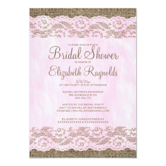 "Pink & Brown Rustic Lace Bridal Shower Invitations 5"" X 7"" Invitation Card"
