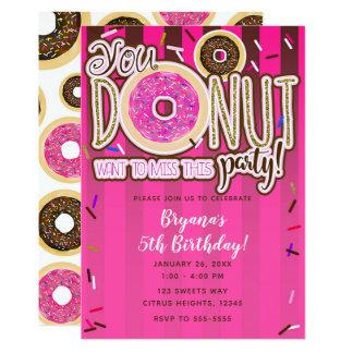 Pink & Brown Sprinkle Donuts Modern Birthday Party Card