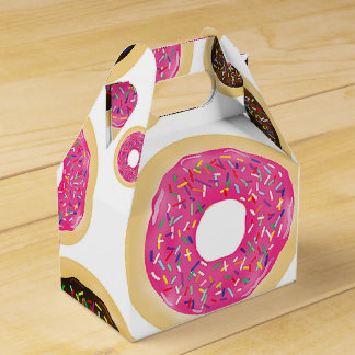 Pink & Brown Sprinkle Donuts Modern Birthday Party Favor Box