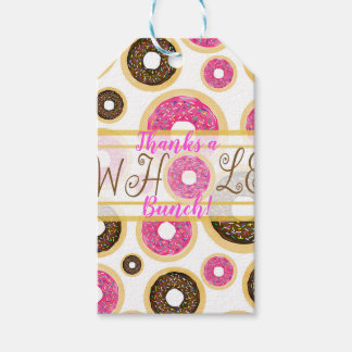 Pink & Brown Sprinkle Donuts Modern Birthday Party Gift Tags