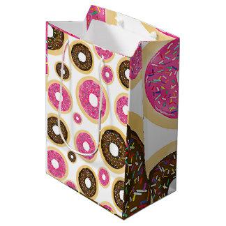 Pink & Brown Sprinkle Donuts Modern Birthday Party Medium Gift Bag