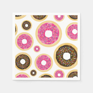 Pink & Brown Sprinkle Donuts Modern Birthday Party Paper Napkin
