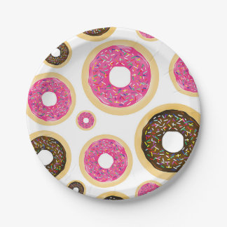 Pink & Brown Sprinkle Donuts Modern Birthday Party Paper Plate