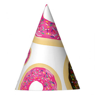Pink & Brown Sprinkle Donuts Modern Birthday Party Party Hat