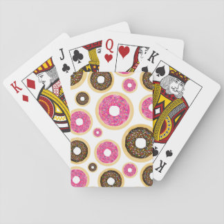 Pink & Brown Sprinkle Donuts Modern Birthday Party Playing Cards