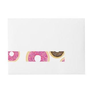 Pink & Brown Sprinkle Donuts Modern Birthday Party Wraparound Address Label