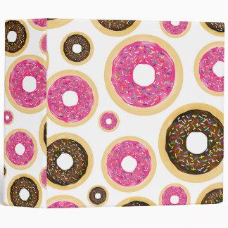 Pink & Brown Sprinkle Donuts Modern Fun Cute 3 Ring Binder