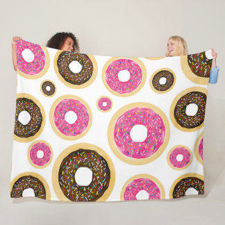 Pink & Brown Sprinkle Donuts Modern Fun Cute Fleece Blanket