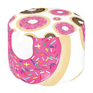 Pink & Brown Sprinkle Donuts Modern Fun Cute Pouf