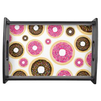 Pink & Brown Sprinkle Donuts Modern Fun Cute Serving Tray