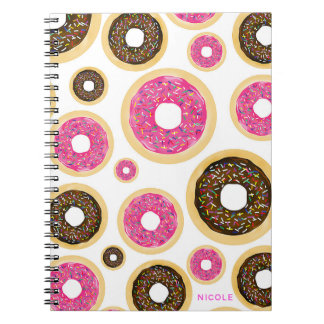 Pink & Brown Sprinkle Donuts Modern Fun Cute Spiral Notebook