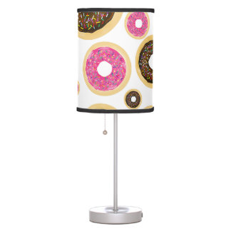 Pink & Brown Sprinkle Donuts Modern Fun Cute Table Lamp