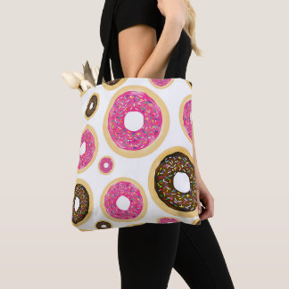 Pink & Brown Sprinkle Donuts Modern Fun Cute Tote Bag