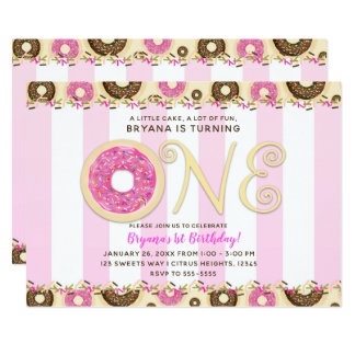 Pink Brown Sprinkle Donuts ONE 1ST Birthday Party Card
