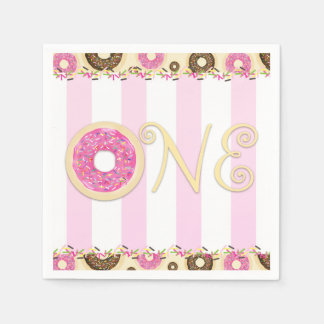 Pink Brown Sprinkle Donuts ONE 1ST Birthday Party Paper Napkin
