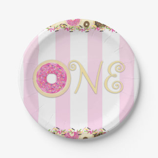 Pink Brown Sprinkle Donuts ONE 1ST Birthday Party Paper Plate