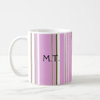 Pink Brown Stripe Monogram Coffee Mug