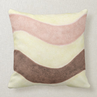 PInk & Brown Stripes Throw Pillow