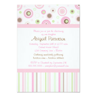 Pink Brown Sweet Girl Polka Dot Christening Card