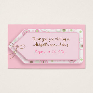 Pink Brown Sweet Girl Polka Dot Favor Tags Business Card