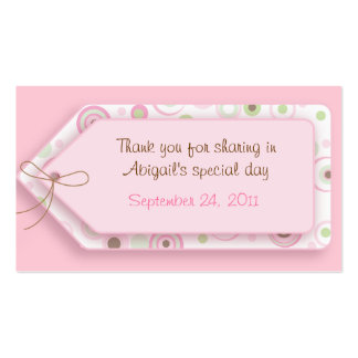 Pink Brown Sweet Girl Polka Dot Favor Tags Business Card Templates