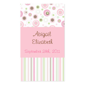 Pink Brown Sweet Girl Polka Dot Favor Tags Business Card