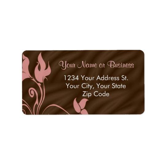 Pink Brown Swirl Address Label