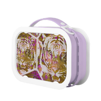Pink Brown Tiger Collage Lunchboxes