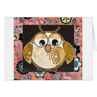 Pink Brown Vintage Owl card