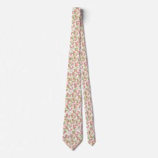 Pink brown watercolor roses floral bunny rabbit tie