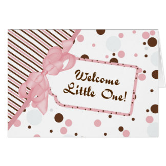 Pink & Brown Welcome Little One New Baby Card