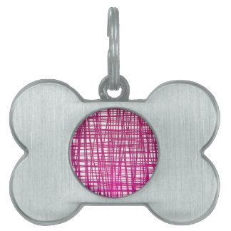 Pink Brushstroke Watercolor Stripes Pet Tags