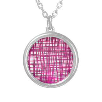 Pink Brushstroke Watercolor Stripes Silver Plated Necklace