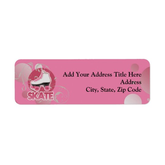 Pink Bubble Swirl Roller Skate, Skating Return Address Label
