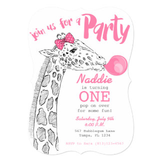 Pink Bubblegum and Giraffe Party Invitation