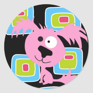 Pink Bubblegum Retro Dog Classic Round Sticker