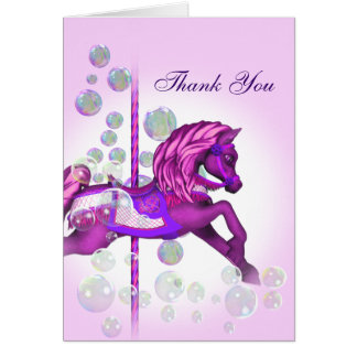 Pink Bubbles Carousel Pony Thank You Cards