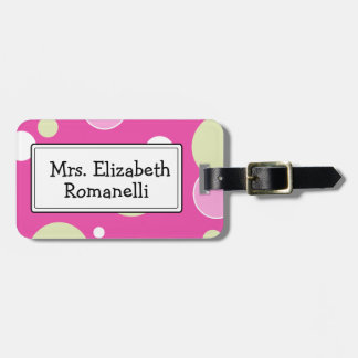 Pink Bubbles Customizable Luggage Tag
