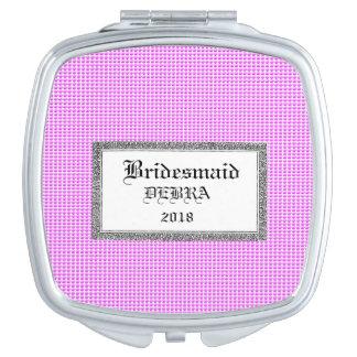 Pink-Bubbles-Favors-Monogram-Template-Celebration Mirror For Makeup