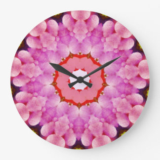 Pink Bubbles Fractal Large Clock