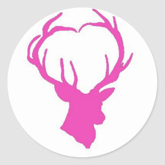 Pink Buck Classic Round Sticker