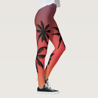 Pink Buff Fade Palm Trees Silhouette Leggings