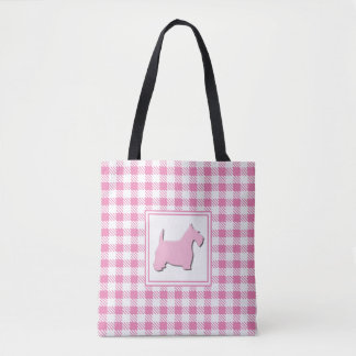 Pink Buffalo Plaid Scottie Dog Tote Bag