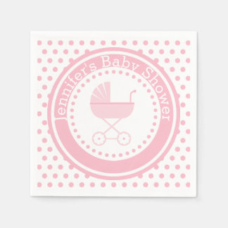 Pink Buggy Baby Shower Paper Napkins
