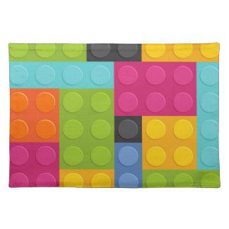 pink building blocks placemat