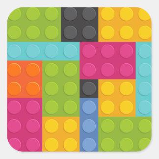 pink building blocks square sticker
