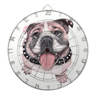 Pink Bulldog dog Dart Board Game