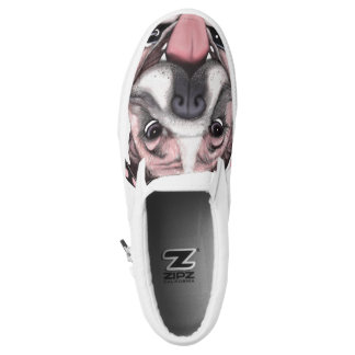Pink Bulldog Dog Slip On Shoes