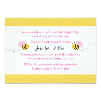 """Pink Bumble Bee Baby Shower Invitations 4.5"""" X 6.25"""" Invitation Card"""